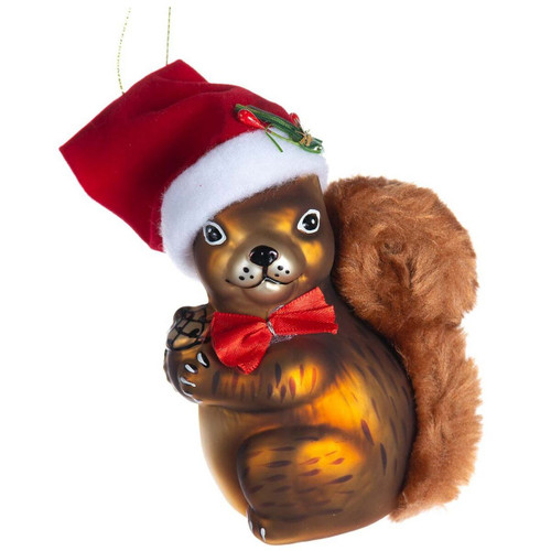 Christmas Squirrel Glass Ornament