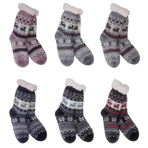 Woman's Snowflake Knit Slipper Socks6 Assortment
