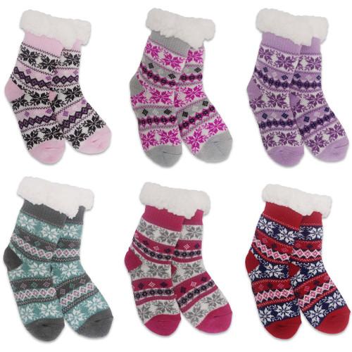 Girls Knit Thermal Slipper Socks