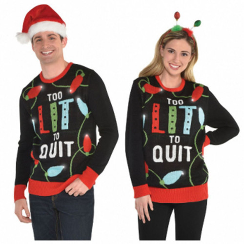 Too Lit to Quit Ugly Sweater