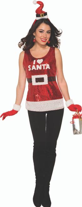 Glitzy Red I Heart Santa Sequin Top Retrofestive Ca