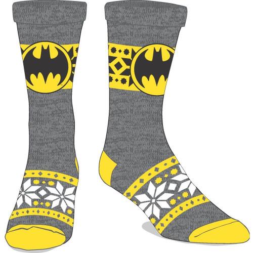 Batman Festive Bat Symbol Grey and Yellow Crew Socks