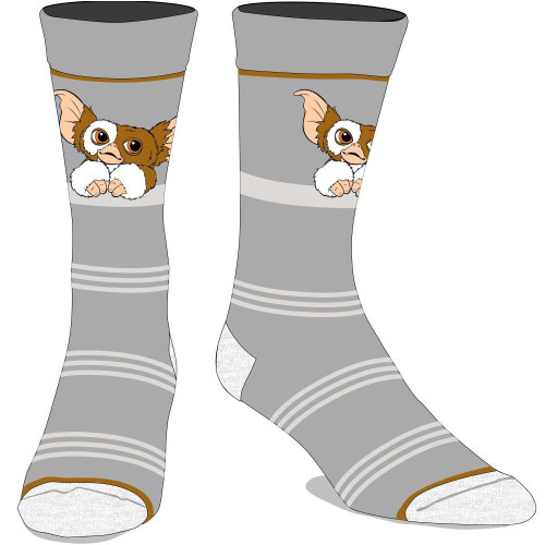 Gremlins Gizmo Grey and White Striped Crew Socks