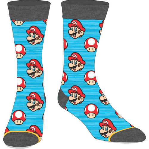 Nintendo Super Mario Bros. Mario and Toad Crew Socks