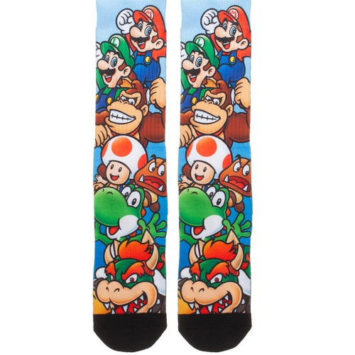 Nintendo Super Mario Bros. Stacked Characters Sublimated Socks