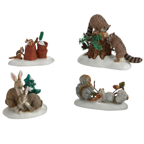 Department 56 Village Friendly Neighbours Set of 4 Critters Accessories
