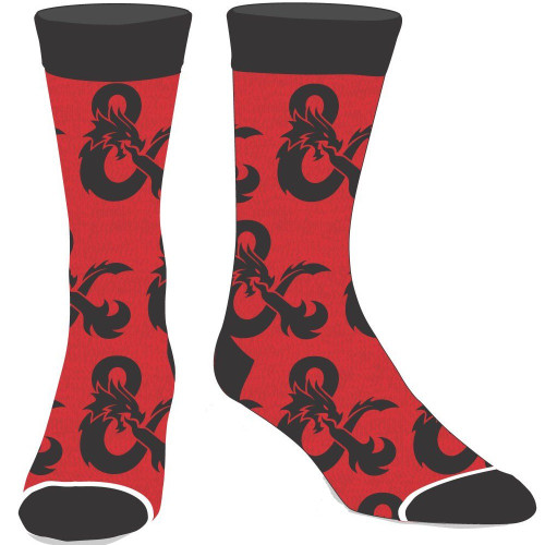 Dungeons and Dragons All Over Print Red Logo Crew Socks