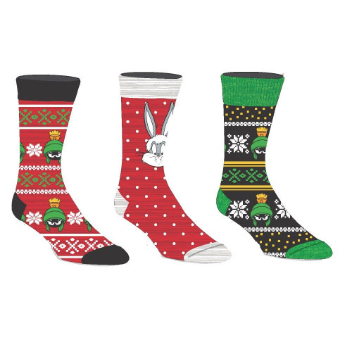 Looney Tunes 3 Pack of Holiday Crew Socks