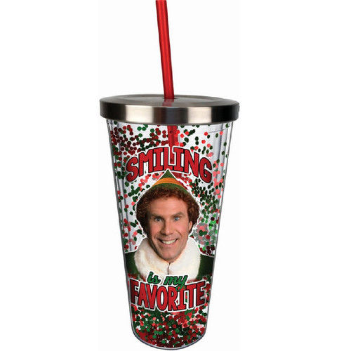 Elf Smiling Is My Favourite Acrylic Cup with Straw and Lid