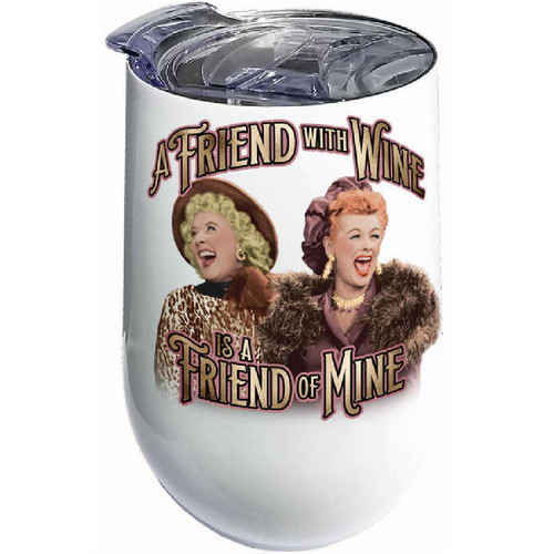 I Love Lucy A Friend With Wine, Is a Friend of Mine Stainless Steel Wine Tumbler