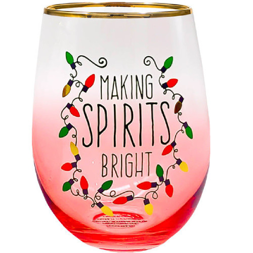 Making Spirits Bright Stemless Wine Glass