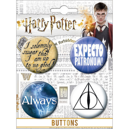 Harry Potter 4 Button Set on Card (NEW)