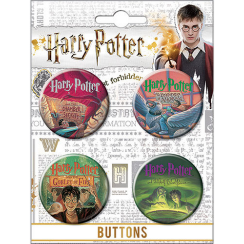 Harry Potter Book Cover Art 4 Button Set on Card