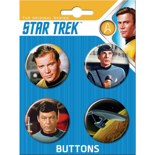 Star Trek Original Series 4 Button Set on Card