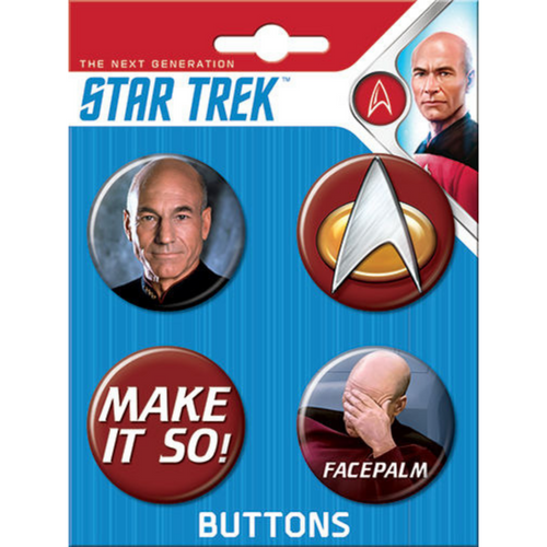 Star Trek Next Generation 4 Button Set