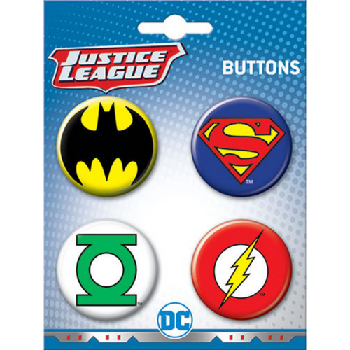 DC Comics Justice League 4 Button Set
