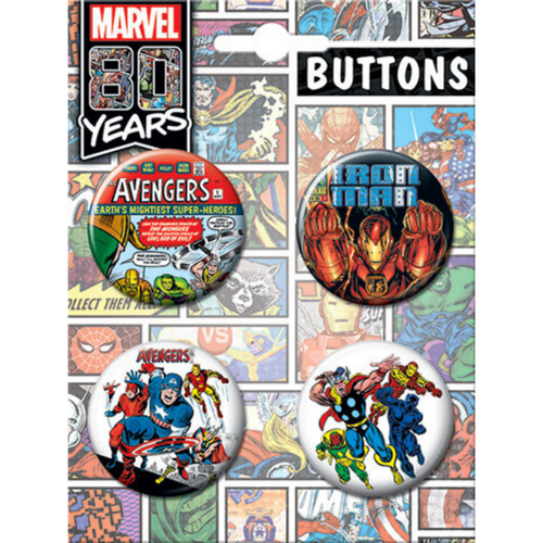 Marvel 80th Anniversary 4 Button Set on Card