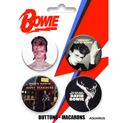 David Bowie Carded Button 4 Pack