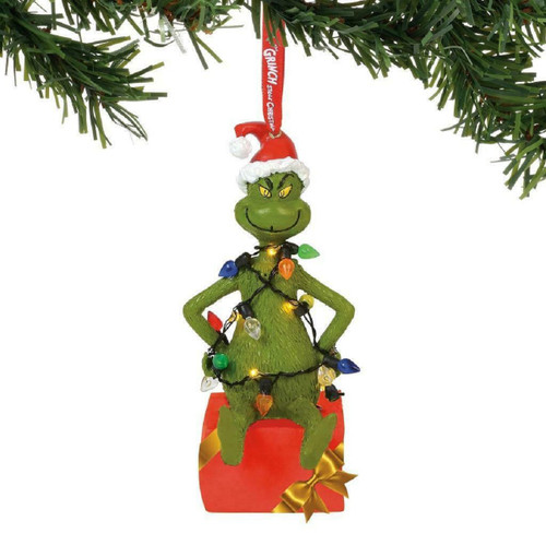 Grinch Wrapped in Lights Tree Ornament