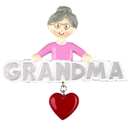 Grandma with Heart Personalized Ornament