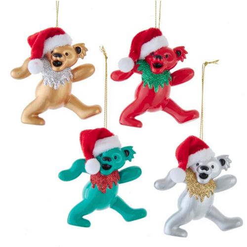 Grateful Dead Christmas Bears with Santa Hats