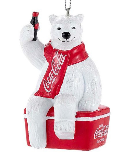 Coca- Cola Bear Sitting On Cooler Ornament
