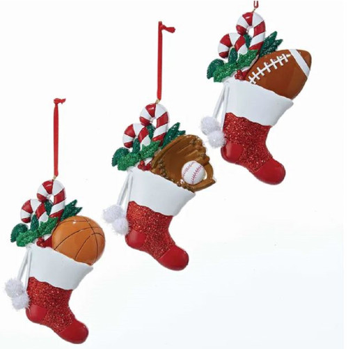 Personalised Sports Balls in Stockings Ornaments