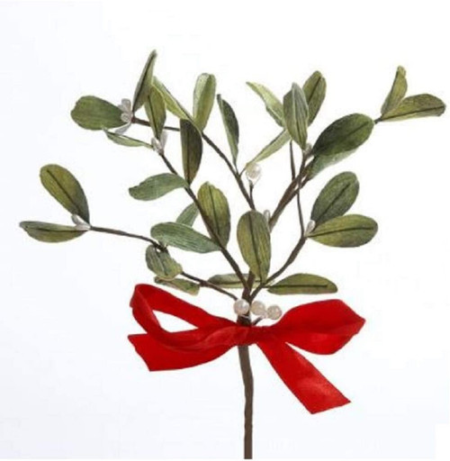 Sprig Mistletoe With Red Bow