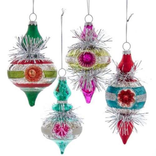 Retro Glass Colorful Reflector Finial Tinsel Ornaments