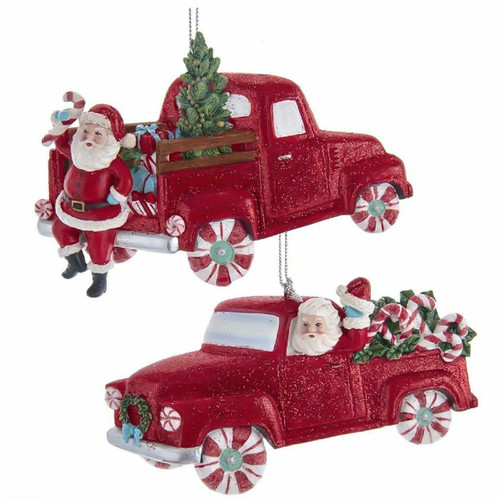 Retro Mint Santa With Red Car and Truck Ornaments
