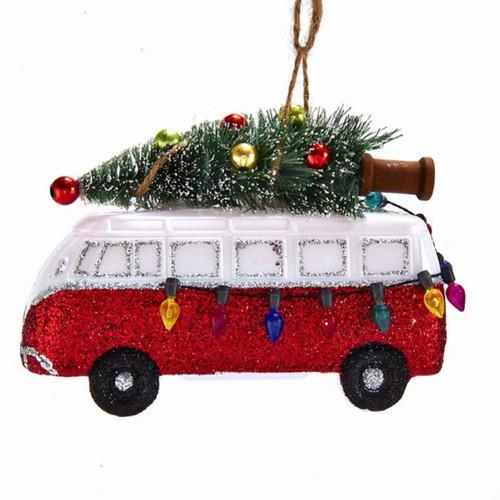 Van With Christmas Tree and Light Bulbs Ornament