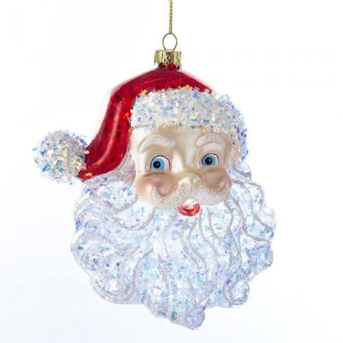 Glass Santa Head Ornament