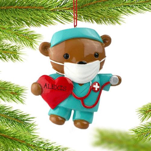 Nurse Bear Personalized Ornament