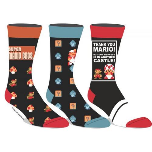 Classic Super Mario Bros Crew Socks, 3 pack