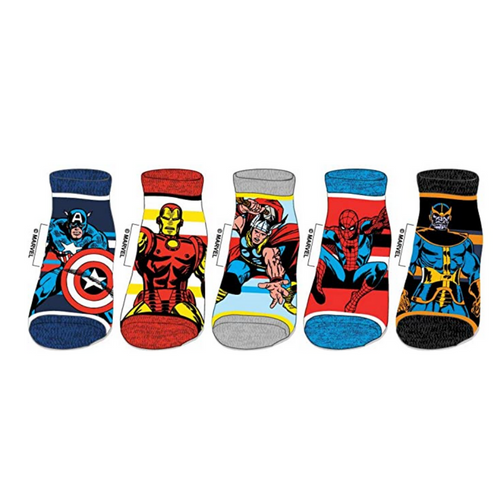 Classic Marvel Character Jrs 5 PK Sock