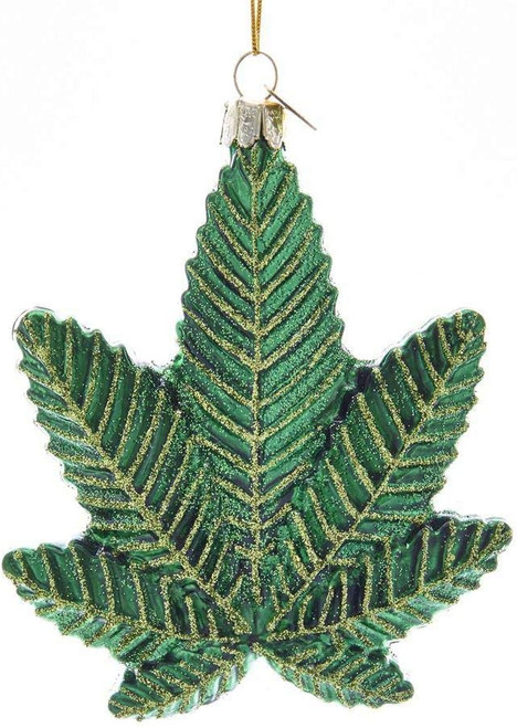 Glass Cannabis Leaf Ornament