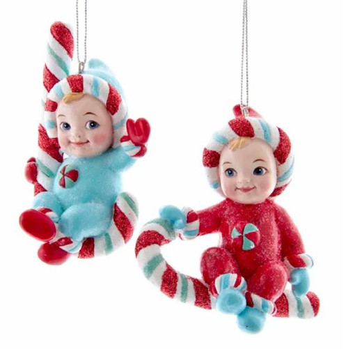 Retro Winter Babies on Candy Cane Ornaments