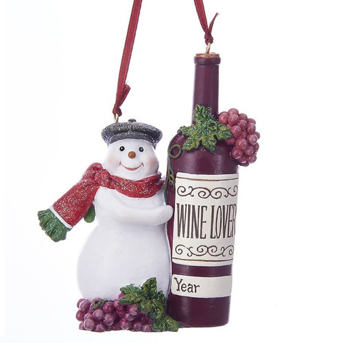 Snowman with Wine Bottle Personalized Ornament
