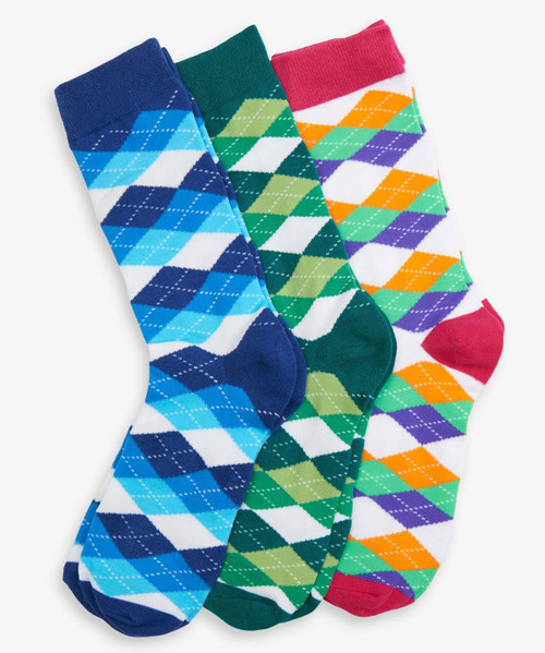 Wild Argyle Men's Crew Sock Set of 3 by Hatley