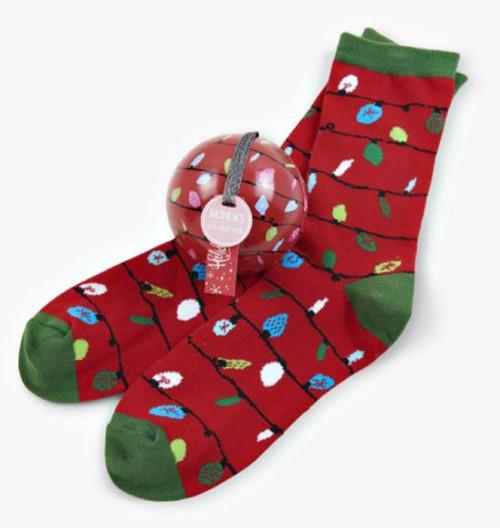 Red Northern Lights Women's Socks in Ball