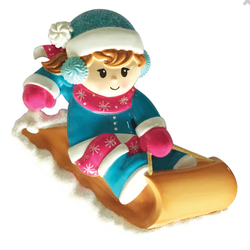 Girl On Sled Personalized Ornament