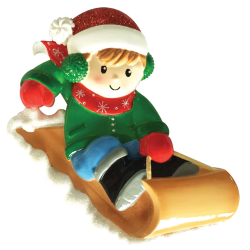Boy On Sled Personalized Christmas Ornament