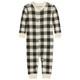 Cream Plaid Baby Onesie Union Suit PJs by Little Blue House
