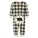 Cream Plaid Baby Union Suit Rear