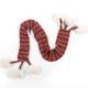 Knitted pom-pom scarf.