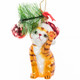 Glass Cat with Glass Ball Ornament brown striped