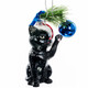 Glass Cat with Glass Ball Ornament black