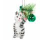 Glass Cat with Glass Ball Ornament striped