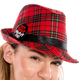 Get Your Merry On Christmas Plaid Fedora model