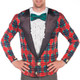 Tacky Tuxedo Ugly Christmas Long-Sleeve Tee Faux Real - Close Up
